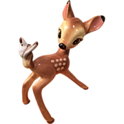 1940's Disney Ceramic Bambi with Butterfly Tail Figurine