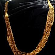 Trifari 7 Strand 30 inch Gold Tone Chain Necklace - Signed