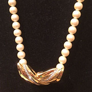 Vintage Richelieu faux Pearl and Gold Plate with Rhinestone Center Choker Necklace