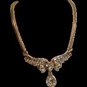 Trifari Gold Tone Drop Pendant Choker Necklace circa 1940 to 1954