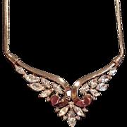 Vintage1951  Crown TRIFARI Gold-Tone Crystal Rhinestone Collar Necklace Pendant