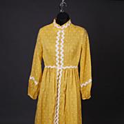 SALE Fabulous Vintage Lori Till Yellow Polka-dot Long Dress 1960s Size Small Plus Free US Ship