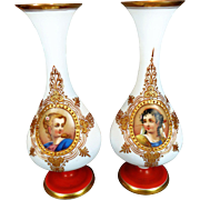 SALE 50% Off - Exquisite maybe Baccarat or Saint Louis White Opaline Glass Portrait Vases with