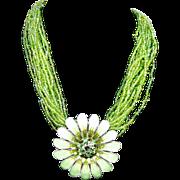 SALE Vintage Green Enamel Rhinestone Flower Seed Bead 16 Strand Necklace Statement Piece