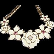 SALE Stunning Vintage Floral Enamel Statement Necklace with Rhinestones Cream White