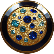 SALE Stunning Vintage Cobalt Blue and Gold Jeweled Encrusted Rhinestone Compact from Great Bri