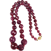 SALE Glass-Filled Ruby Faceted Necklace with 47 Stones & 14K Ball Clasp