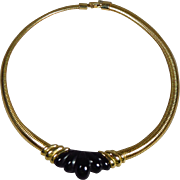 Vintage Signed Napier Choker Collar Necklace Gold with Black Lucite