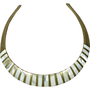 Vintage Brass and Mother of Pearl Collar Necklace