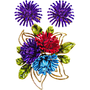 Vintage Signed Corocraft Floral Flower Enamel Brooch & Earrings Demi Parure