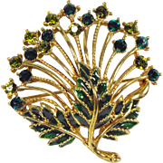 Lovely Vintage M Jent Green Rhinestone Floral Brooch