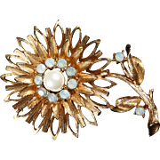 SOLD Vintage Swarovski Crystals Gold Tone Flower Brooch Aurora Borealis Opal Stones