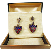 Vintage Crest Heraldic Shield Renaissance Earrings Rampant Lion Free US Shipping