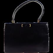 Vintage 1950s English Waldybag Black Leather Kelly Handbag Unique Clasp Interior Tan Suede Lin
