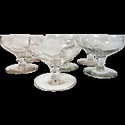 Vintage set of 7 Elegant Etched Rose Sherbert Dessert Glasses Free US Shipping