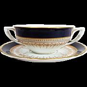 SALE Royal Worcester Regency Outside Decoration Cobalt Blue Cream Soup & Saucer / Underpla