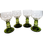 SALE Nice! Set of 4 Hand Blown Crystal Roemer Wine Glasses Hocks Green Hollow Stem Plus Free U