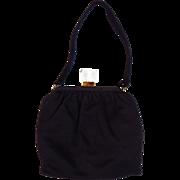 SALE Very Clean Vintage Castle Black Purse Handbag Lucite Acrylic Clasp Plus Free US Shipping