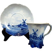 Lovely Antique Rosenthal Versailles Delft Cup and Saucer