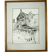 Original Helen Gapen Oehler Pencil Drawing, Provincetown, circa 1935