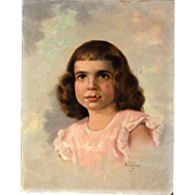Oil Painting by Gene Anthony, Portrait of a Child, circa 1954
