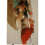 Jack Laycox Watercolor and Graphite Nude Figure Study, Circa 1970's