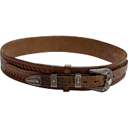 """Vintage Hand Tooled """"SIS"""" """"Made in Texas"""" Sterling Belt"""