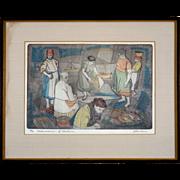 "SALE PENDING Original Etching by Irving Amen, ""Fisherwomen of Lisbon"""