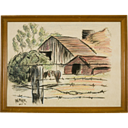 Mid Century Ink and Pastel Painting by Paul Miller, Novato Country Scene