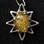 Vintage 1970's-80's Faux Amber Cast Necklace