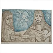 """Irving Amen """"Folk Song"""" Original Etching (c.1970)"""