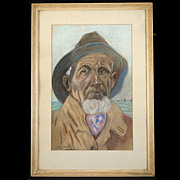 Fabulous Vintage European School Mid-Century Pastel Drawing