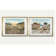 "Pair of ""Paris Street Scene""  vintage 1960's-70's lithographs by Eugene Valentin"