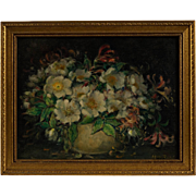 Kate Carew Oil Painting Floral Still Life, Circa 1930-1950