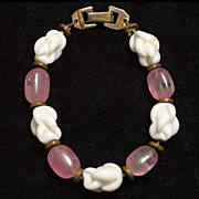 Vintage 1940's-50's Barcaly Milk and Rose Glass Bracelet