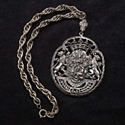Incredible Vintage Heraldic Shield Victorian Revival Feasting Medallion Necklace