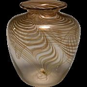 Vintage Jim Smircich Iridescent Oxide Art Glass Vase, circa 1983