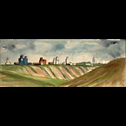 SOLD Modernist Watercolor by Larsen Lorenzen, circa 1978