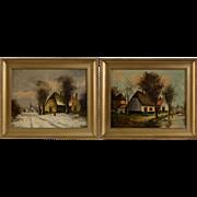Pair of European School Oil Paintings, signed V. Dyk