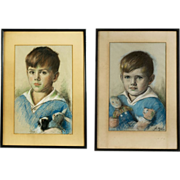 Pair of Pastel Child Portraits, American School, circa 1926