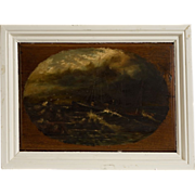 19th Century American School Nautical Painting, Oil on Wood Panel, by B.L. Hollenbeck, 1896
