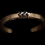 Vintage Artisan Brass and Onyx Bracelet