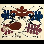 Kenojuak Ashevak (1927-1913) Vintage Lithographic Calendar Print, Circa 1970's