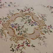 SOLD Fabulous French Aubusson Rug 13' round Floral,
