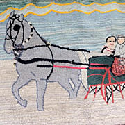 SALE Winter Holiday LARGE Vintage American Horse & Sleigh ca. 1920s Hand Hooked  Rug.2 1/2' x