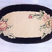 "SOLD American ca. 1920s Hand Hooked Rug-Mat Floral Mini Rug 9"" x 15.5"" $28 free ship"