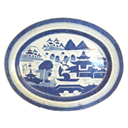 "SALE Fabulous Chinese Export CANTON  LARGE  Deep PLATTER Blue and White , 18 1/2"" x ..."