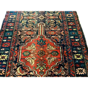 "SALE Antique N,W. Persian Runner 3'10"" x 9'11"" Wool, coral & blues-Free appraisa"