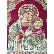SALE Beautiful Antique  Detail-MADONNA & CHILD Persian Rug/Tapestry Fine Quality Religious Art