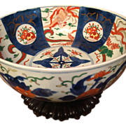 "SALE LARGE Japanese IMARI BOWL, c. 1800s, finely hand painted 11 1/2"" X 5"" x 5"""